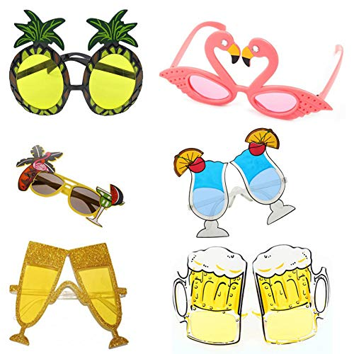 6 Paar Neuheit lustige Sonnenbrillen, kreative lustige Sonnenbrillen Hawaiian Luau Kostüm tropische Party Brillen für Luau Kostüm Party Hawaii Motto Party Strand Foto Requisiten für Kinder Erwachsene (Kreative Paar Kostüm)