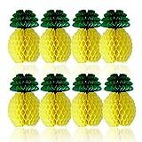 SUNBEAUTY Ananas Deco Papier pour Decoration Chambre Maison Anniversaire Naissance Baptême 20cm Lot de 8 (Jaune)