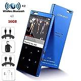 Lettore MP3 portatile con Bluetooth 16Gb Lossless Hi-Fi Music Player con pulsante touch/schermo da 1,8 pollici, altoparlante forte integrato, radio FM, registratore vocale
