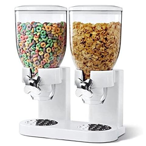 Denny International® Double Plastic Classic Dry Food Cereal Dispenser Double Canister, White Transparent (White)