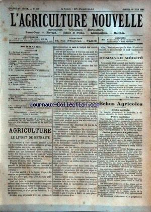 AGRICULTURE NOUVELLE (L') [No 165] du 16/06/1894 - AGRICULTURE PAR TROUDE - LAUNAY - BOUE - VITICULTURE PAR SOULIERE - LATIERE - HORTICULTURE PAR COUTURIER - BLIN - ELEVAGE PAR SAILLARD