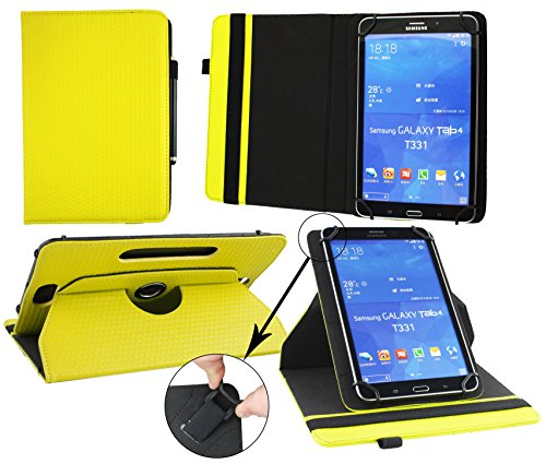 Emartbuy® AlpenTab Heidi 7 Zoll Tablet PC Universal ( 7 - 8 Zoll ) GepolsterteDesign Gelb 360GradrotierendeStandFolioGeldbörseTascheHülle + Schwarz Eingabestift