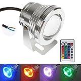 10W LED Flutlicht Fluter Strahler Licht, Konesky RGB Scheinwerfer DC12V mit Fernbedienung