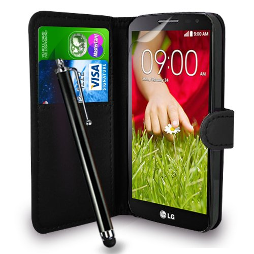 lg-g2-mini-black-leather-wallet-flip-hulle-tasche-touch-pen-stylus-display-schutzfolie-poliertuch
