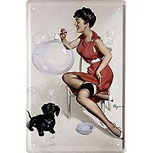 Sexy chica pin up con 50de pompas de jabón 's Nostalgie 20x 30cm decoración Cartel de chapa 1451