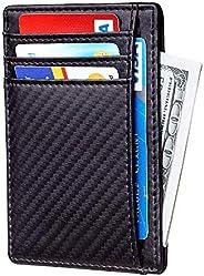 Santo Slim Wallet RFID Front Pocket Wallet Minimalist Secure Thin Credit Card Holder Slim Minimalist Front Poc