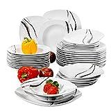 VEWEET 'Teresa Servizio da tavola in porcellana 36 pezzi | Piatto per 12 persone | Ognuno con 12 piatti da dessert, 12 piatti fondi e 12 piatti piani