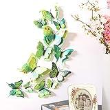 Rowentauk 12 stücke DIY Schmetterling Wandaufkleber 3D Kunst Dekor Handwerk Für Kindergarten Klassenzimmer Büros Kinder Mädchen Jungen Baby Schlafzimmer Badezimmer Wohnzimmer Magneten, doppeldeck grün