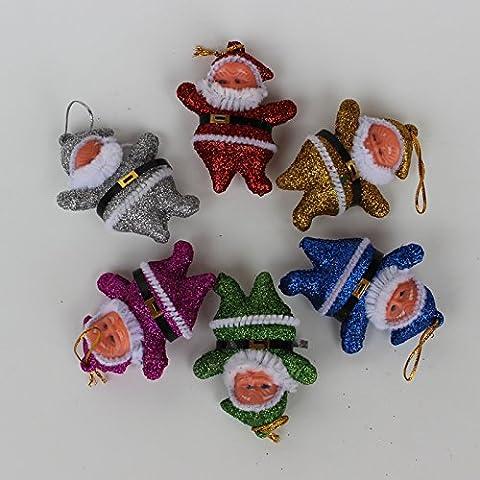 5pcs Natale plastica colorata Natale vecchio uomo bambole bambola natale decorazioni albero di Natale decorazione ornamenti