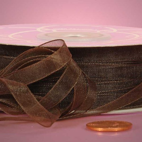 Brown Sheer Organza Ribbon, 5/8 X 50Yd by Paper Mart -