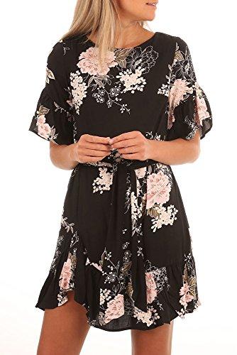 Happy Sailed Womens Floral Pattern Half Sleeve Ruffle Hem Chiffon Short Dress With Waistband