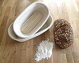 Gärkörbchen SET GÄRKORB oval 1 - 1,5 kg Brotteig Gärkörbe Korb Brotform Peddigrohr