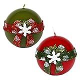 Bola velas–Juego de 2velas de Navidad verde rojo Diseño nieve folcke