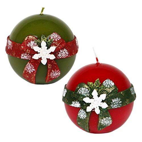 Bola velas-Juego de 2velas de Navidad verde rojo Diseño nieve folcke