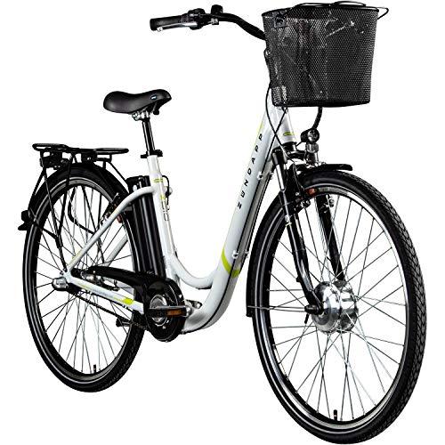 "Zündapp E Damenrad 700c E-Bike Pedelec Z510 Citybike Elektrofahrrad 28\"" Fahrrad (weiß/grün, 48 cm)"