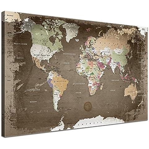 LanaKK - Impresión digital sobre lienzo con dorso de corcho, diseño vintage de mapamundi