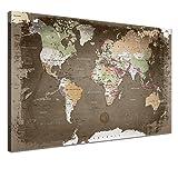 """LANA KK - Weltkarte Leinwandbild mit Korkrückwand zum pinnen der Reiseziele – """"Weltkarte Used"""" - deutsch - Kunstdruck-Pinnwand Globus in braun, einteilig & fertig gerahmt in 100x70cm"""