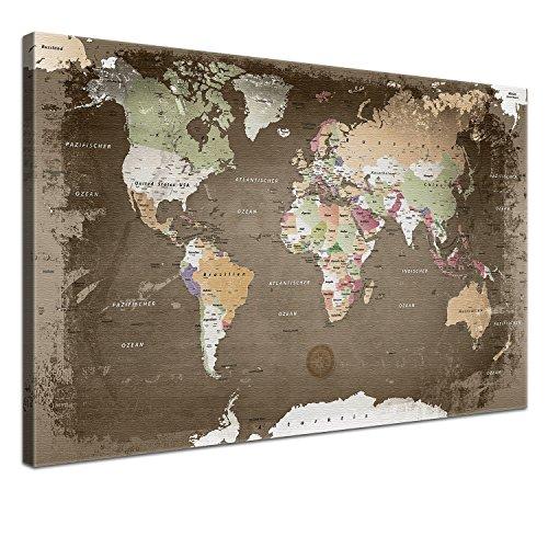 """LANA KK - Weltkarte Leinwandbild mit Korkrückwand zum pinnen der Reiseziele - \""""Weltkarte Used\"""" - deutsch - Kunstdruck-Pinnwand Globus in braun, einteilig & fertig gerahmt in 100x70cm"""