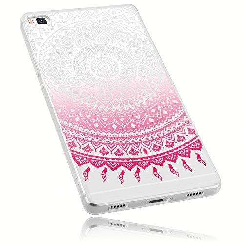 mumbi Schutzhülle Huawei P8 Hülle im Mandala Design in transparent rosa