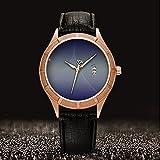 Golden Armbanduhr Kalender Datum dünn Classic Casual Uhr mit Schwarz Leder Band großes Gesicht Uhren Starry Sky series-027, Star, Hintergrund Bild
