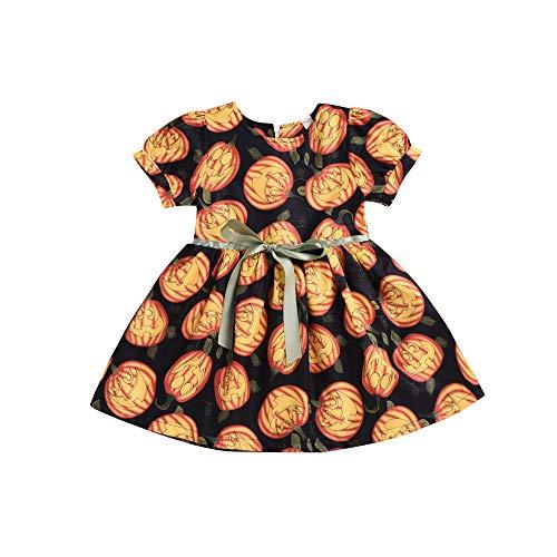 Mädchen Kurzarm Kürbis Drucken Karikatur Kleid Prinzessin Kostüm Kinder Glanz Kleid Mädchen Halloween Verkleidung Karneval Party Halloween Fest von Innerternet