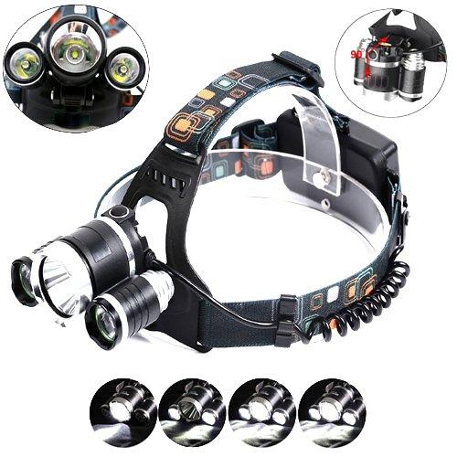 Preisvergleich Produktbild Profi Police LED Cree Stirnlampe Kopflampe Taschenlampe Lampe 8000LM 3x XM-L T6 inkl.2x PowerAkku