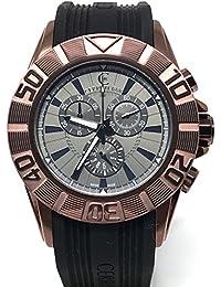 Cerruti 1881crwa042m233q reloj cronógrafo para hombre (44mm, correa de caucho de color negro, fabricado en Suiza, color marrón