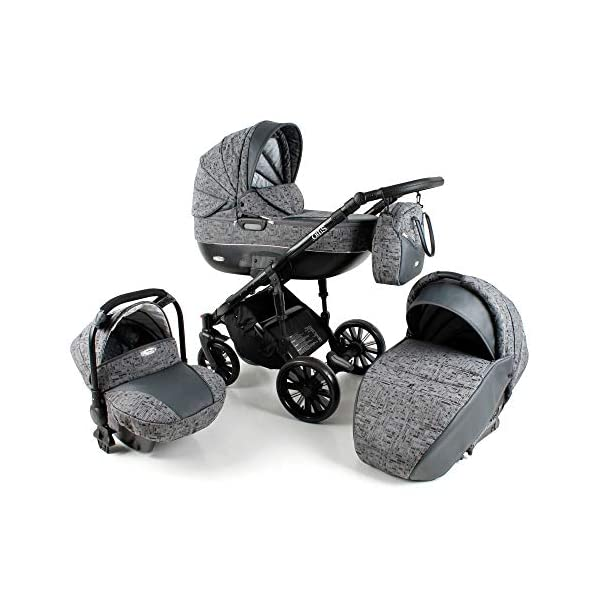 Lux4Kids Pram Stroller 3in1 2in1 Isofix Colour Selection Buggy Car seat BOL Black Square OB-07 4in1 car seat +Isofix Lux4Kids Lux4Kids Bol 3in1 or 2in1 pushchair. You have the choice whether you need a car seat (baby seat certified according to ECE R 44/04 or not). Of course the car is robust, safe and durable Certificate EN 1888:2004, you can also choose our Bol with Isofix. The baby bath has not only ventilation windows for the summer but also a weather footmuff and a lockable rocker function. The push handle adapts to your size and not vice versa, the entire frame is made of a special aluminium alloy with a patented folding mechanism. 2
