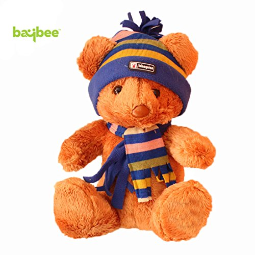 Baybee Premium Stuffed Teddy Bear | Featuring Scarf and Embroidery Toys For Kids | Mascot Teddy bear Assorted Color ( Pack of 1 )