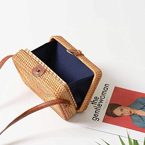 Volwco Rattan-Tasche, handgewebt, quadratisch, Rattan-Tasche mit Schulterriemen aus Leder, Sommer, modisch, Vintage, Strandtasche für Frauen -
