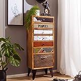 FineBuy Highboard Jolin 45x35x120 cm Hochschrank mit 7 Schubladen Massivholz | Kommoden-Schrank Industrie Design | Multicolor Kommode mit Metallbeinen | Schubladenkommode Modern Bunt