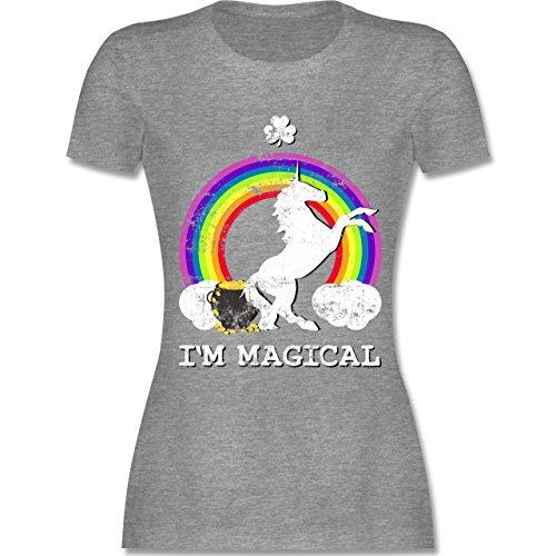 Shirtracer St. Patricks Day - I'm Magical Einhorn St. Patricks Day Vintage - Damen T-Shirt Rundhals Grau Meliert
