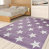 TAPISO HAPPY Jugend Teppich Kurzflor | Designer Kinderteppich in Pastell Lila Weiss mit Sternen Muster | Ideal Spielteppich für Mädchen Kinderzimmer | ÖKOTEX 80 x 150 cm