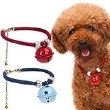 Pawaboo Hundehalsband mit Bell Set, [2Stück] Einstellbar Haustier Hunde Halsband halskette Weihnachten Glocken Halskrause mit für Welpen Katze, Rot & Blau, S, Für 25cm - 30cm