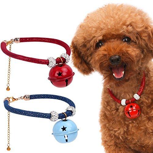 Pawaboo Hundehalsband mit Bell Set, [2Stück] Einstellbar Haustier Hunde Halsband halskette Weihnachten Glocken Halskrause mit für Welpen Katze, Rot & Blau, M, Für 30cm - 35cm