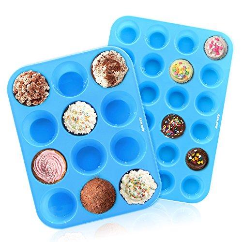 Ankway Molde de Muffin Silicona juego de 2, 12/24 tazas Molde de Silicona para Magdalenas Repostería Galletas-Reutilizable, Antiadherente, Resistente al Calor, Apto para Lavavajillas y Microondas-azul