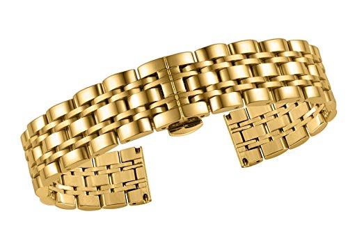 bracciali unisex 18 mm di alta qualità orologio da polso in acciaio inox oro massiccio fine rettilineo tipo pesante misura regolabile