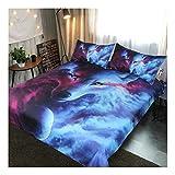CSYPYLE Bettwäsche-Sets Kreative Tier Wolf Muster Schlafzimmer Bettbezug Bettlaken Kissenbezüge Set, 220Cm × 240Cm