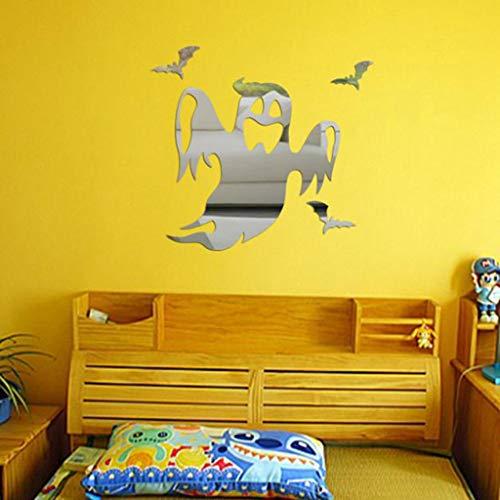 SHGFTY Wandaufkleber Halloween Ghost Hintergrund Dekoriert Wohnzimmer Schlafzimmer Wandaufkleber Halloween Dekoration Wandaufkleber für Kinderzimmer Aufkleber, Silber