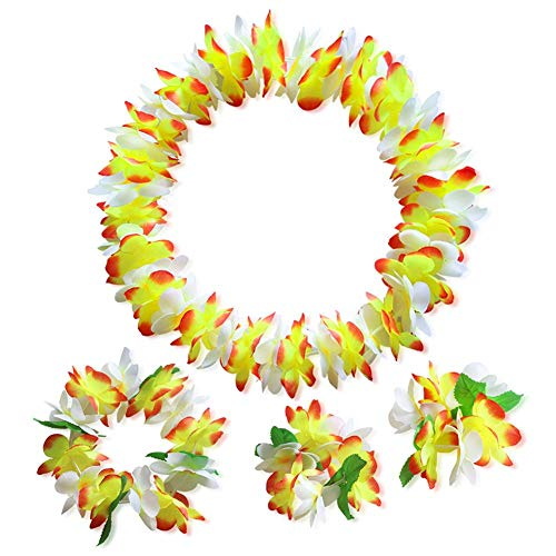 (kingpo 80 Pedale aus hochwertigem Stoff - Multi Color Tropical Hawaiian Garland 4 Stück Set Blumengirlanden Party Beach Theme Party Requisiten Urlaub liefert)