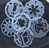 Torten Schablonen Tatoo Kuchen Dekoration 6er Set Geburtstag Happy Bithday Frühling Blumen Herzen Muster Sterne Weihnachten Verzierung von ROYAL HOUSEWARE