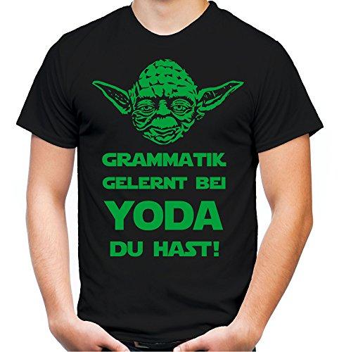 Yoda Spruch T-Shirt | Star Wars | lustige | Darth | Zitate | Sith | Vader | Männer | Herren | Fun | Kult | Film | Grammatik Schwarz