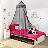 Mosquito Nets 4 Letto U -Black matrimoniale a Baldacchino con perline nere decorative