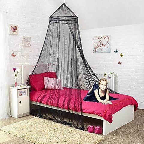 Mosquito Nets 4 U -Black Doppelbett mit Baldachin dekorativen schwarzen Perlen