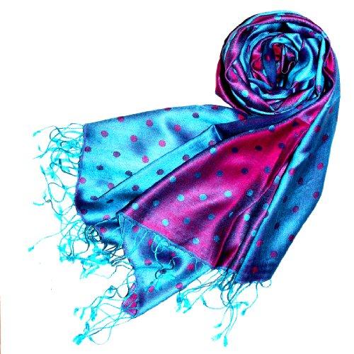 LORENZO CANA High End Luxus Pashmina 70% Seide 30% Viskose mit Punkten Schaltuch 70 x 190 cm zweifarbig Schal Stola Damenschal Damen (Seide Damen Schal Italienischer)