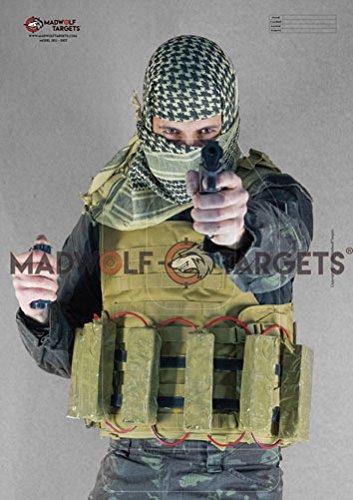 Silueta realista para tiro táctico y policial - Terrorista Yihadista con Cinturon Explosivo (84,1 x 59,4 cm) (Pack 20 siluetas )