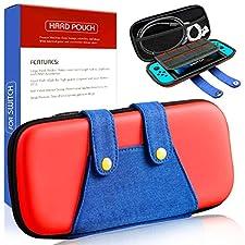 étui Kit pour Nintendo Switch, [Sacoche Protection Intégral compatible avec Nintendo Switch ][Capacité Grande Pochette pour les Jeux] Housse étui pour Nintendo Switch Accessoire-Rouge et Bleu Mario