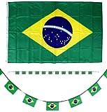 SET Brasilien Fahne 150cm + 5m Girlande Flagge WM Brasil Fan Fanartikel KBV