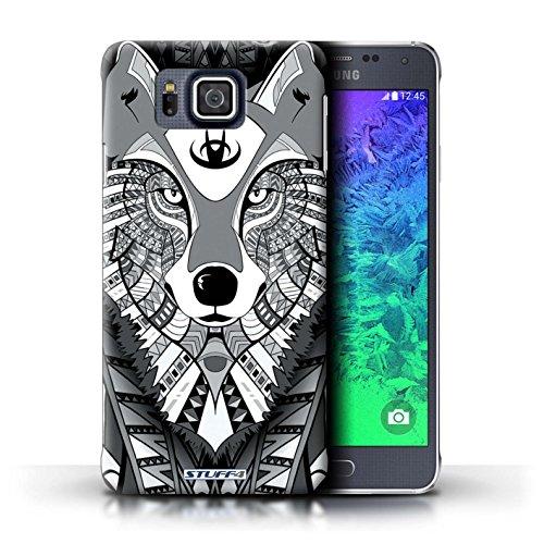 Kobalt® Imprimé Etui / Coque pour Samsung Galaxy Alpha / Loup-Rouge conception / Série Motif Animaux Aztec Loup-Mono