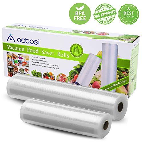 Aobosi Rollos Envasado al Vacío Bolsas Envasado al Vacío 28x600cm y 20x600cm Rollos para Sous Vide y Food Saver BPA Gratis y LFGB Aprobado